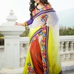 Semi Georgette Indian Saree Designs For Autumn Season 2
