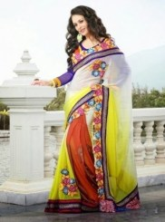 Semi Georgette Indian Saree Designs For Autumn Season 2