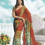 Semi Georgette Indian Saree Designs For Autumn Season 5
