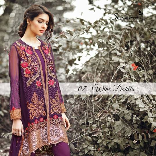 Serene Royal Chiffon Eid Dresses Summer Collection 2017 6