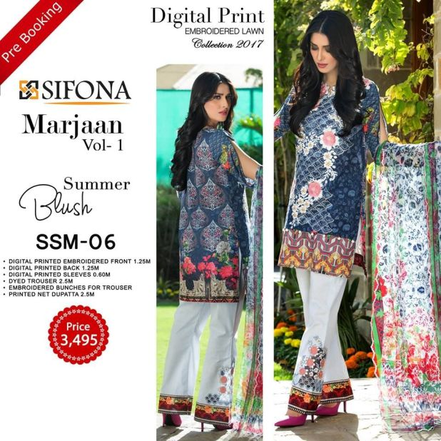 Sifona Marjaan Luxury Embroidered Lawn Dresses Summer 2017