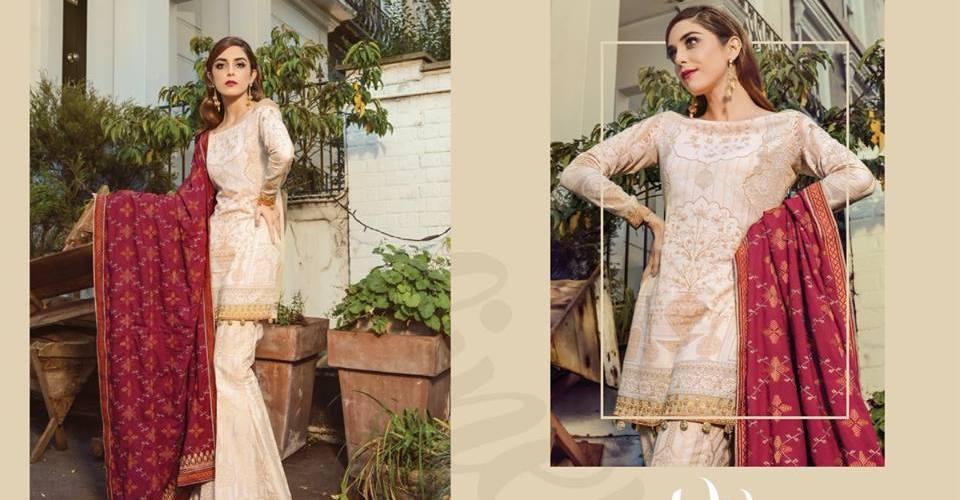 3f6c0dde002 Maria B Winter Formal Dresses Linen Collection 2018