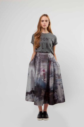 Liminal Digital Print Skirt £320 & Slogan Tee £65