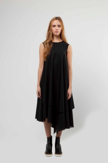 Emma Trapeze Dress with Raw Edge Hem Detail £520