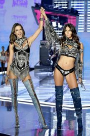 Alessandra Ambrosio VS Fashion Show 2017 With Lily Aldridge during the Punk segment wearing Balmain