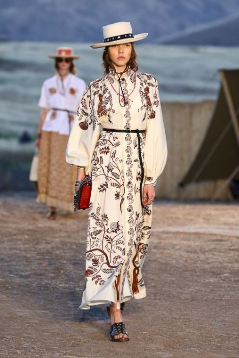 still from Dior's Cruise 2018 runway show showing prairie girl style