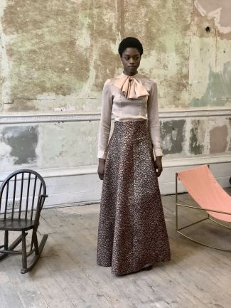 Merchant Archive FW18 LFW a model wearing a circle hem skirt with dab dot paint design