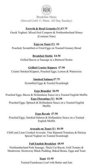 The Forsyth & Feed Breakfast Menu
