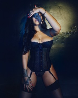 Rihanna wears a basque and suspenders from her debut savage x fenty lingerie collection