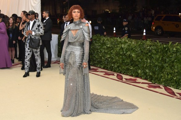 Zendaya wears chainmail in a nod to Joan of Arc at the Heavenly Bodies Met Gala 2018 full front view