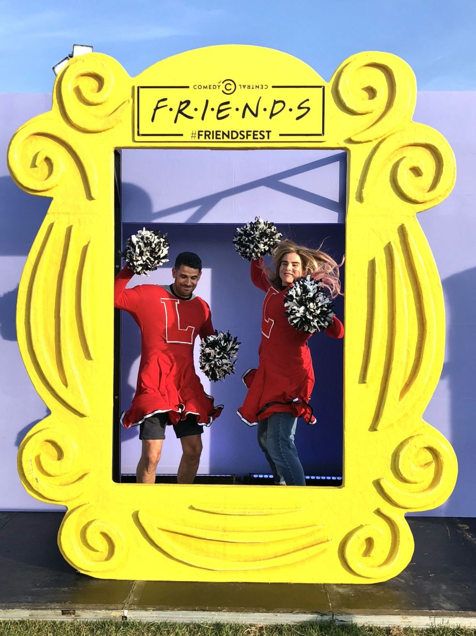 Comedy Central UK's Friends Fest 2018: Pixie Tenenbaum and her brother dressed as cheerleaders in a scene from the TV show friends