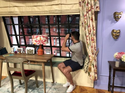 Comedy Central UK's Friends Fest 2018: Pixie tenenbaum's little brother spying on Ugly Naked Guy from Monica's apartment at Friends fest 2018