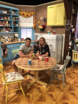 Comedy Central UK's Friends Fest 2018: Pixie Tenenbaum and her brother at the table in the kitchen of monica's apartment