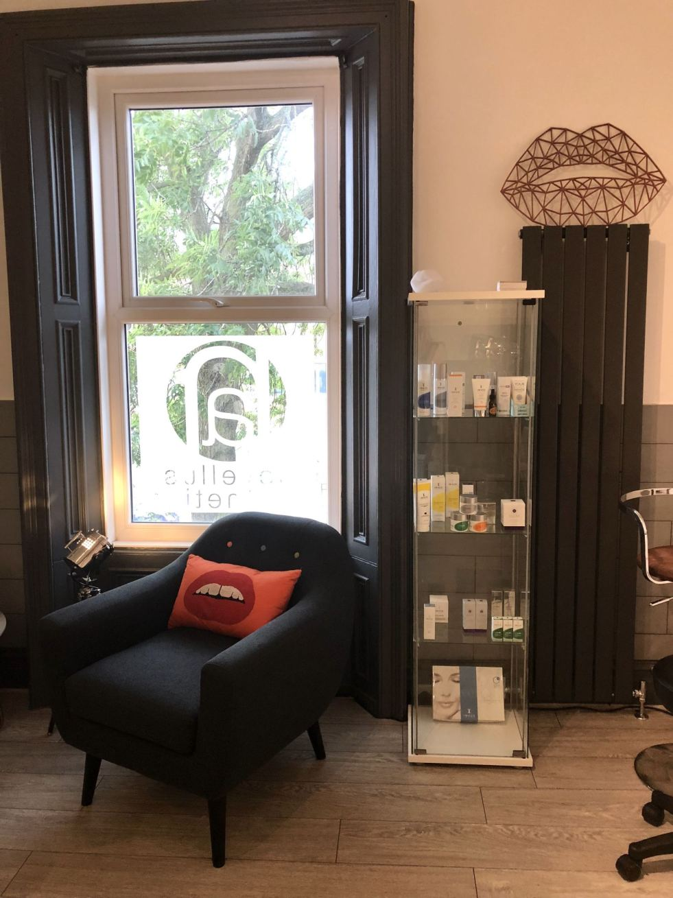 A picture of the consulting area in the brand new clinic room at Novellus Aesthetics Jesmond, Newcastle showing a chair with a cusion with lips on it and a glass cabinet filled with Image Skincare products taken for Fashion Voyeur Blog