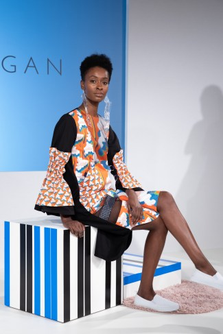 Solo Model at the Cassey Gan FW19 presentation at Fashion Scout for London Fashion Week Fashion Voyeur blog by Pixie Tenenbaum