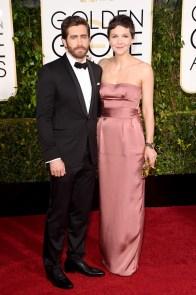 Jake Gyllenhaal in Gucci and Maggie Gyllenhaal in Miu Miu