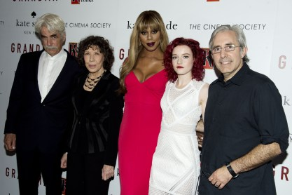 "Sam Elliott, Lily Tomlin, Laverne Cox, Julia Garner, Paul Weitz==The Cinema Society and Kate Spade host a screening of Sony Pictures Classics ""Grandma""==Landmark Sunshine Cinema, NYC==August 18, 2015==©Patrick McMullan==Photo - Clint Spaulding/PatrickMcMullan.com===="