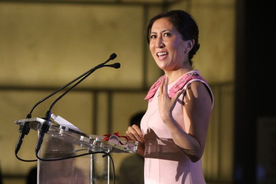 NEW YORK, NY - SEPTEMBER 10: Janice Min speaks onstage at The Daily Front Row's Third Annual Fashion Media Awards at the Park Hyatt New York on September 10, 2015 in New York City. (Photo by John Parra/Getty Images for The Daily Front Row)