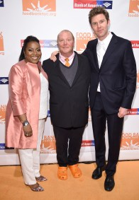 """""""NEW YORK, NY - APRIL 20: (L-R) Margarette Purvis, CEO of Food Bank Of New York City, Chef Mario Battali, and actor Dan Colen attend the Food Bank Of New York City's Can Do Awards 2016 hosted by Michael Strahan and Mario Batali at Cipriani Wall Street on April 20, 2016 in New York City. (Photo by Dimitrios Kambouris/Getty Images for Food Bank of New York City)"""""""