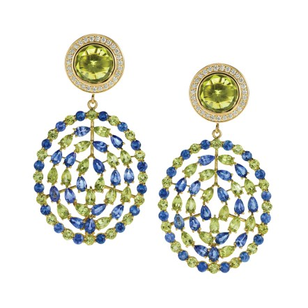 Galeb-Roskopp's Balkan roots were the inspiration behind the Adriatic Collection, which includes the colorful diamond Plima earrings (left)