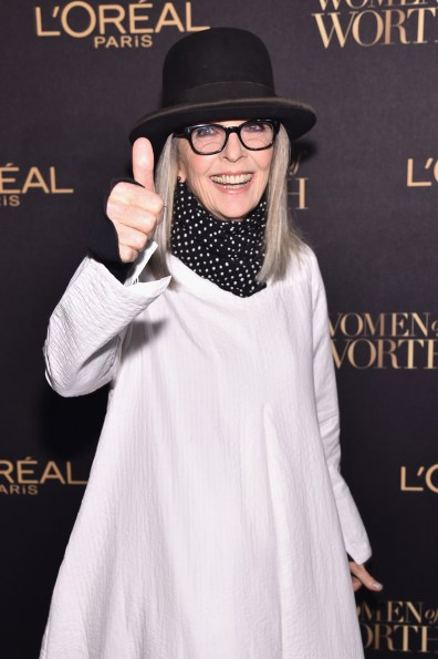 NEW YORK, NY - NOVEMBER 16: Actress Diane Keaton attends the L'Oreal Paris Women of Worth Celebration 2016 Arrivals on November 16, 2016 in New York City. (Photo by Michael Loccisano/Getty Images for L'Oreal) *** Local Caption *** Diane Keaton