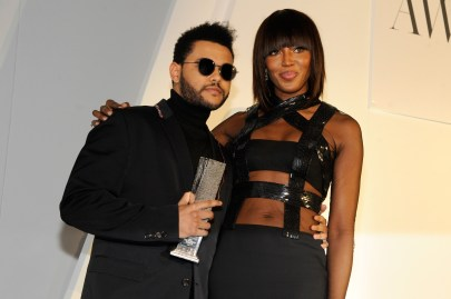 NEW YORK, NY - NOVEMBER 02: Model Naomi Campbell (R) presents musician The Weeknd with the Innovator Award in Music at the WSJ Magazine 2016 Innovator Awards at Museum of Modern Art on November 2, 2016 in New York City. (Photo by Rabbani and Solimene Photography/Getty Images for WSJ. Magazine Innovators Awards)