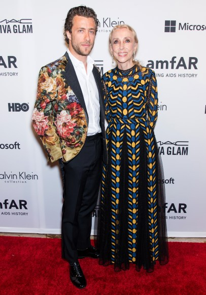 NEW YORK, NY - JUNE 10: Editor-in-chief of Vogue Italia Franca Sozzani (R) and son Francesco Carrozzini attend the amfAR Inspiration Gala New York 2014 at The Plaza Hotel on June 10, 2014 in New York City. (Photo by Gilbert Carrasquillo/FilmMagic)