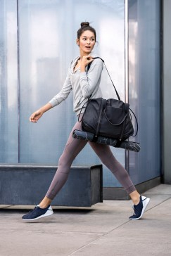 Cole Haan_StudiøGrand Campaign_Pack and Go Trainer in Marine Blue, Duffle in Black, prAna Yoga Mat