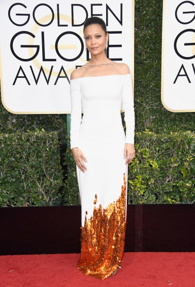 BEVERLY HILLS, CA - JANUARY 08: Actress Thandie Newton attends the 74th Annual Golden Globe Awards at The Beverly Hilton Hotel on January 8, 2017 in Beverly Hills, California. (Photo by Frazer Harrison/Getty Images)