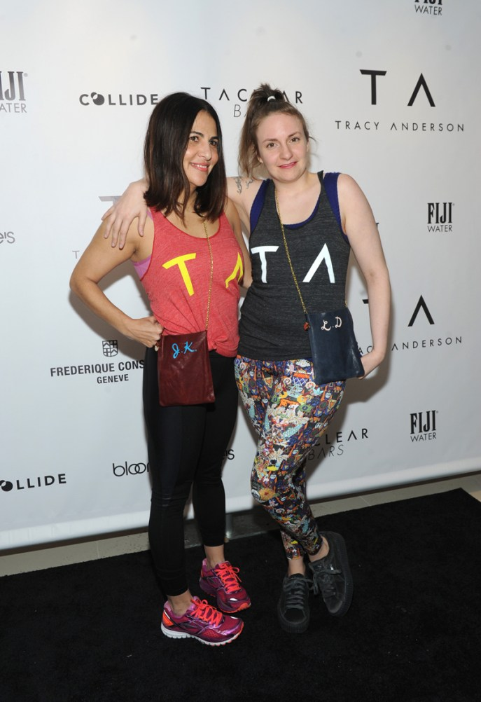Jenni Konner and Lena Dunham celebrate the opening of the Tracy Anderson 59th Street studio, Wednesday, March 15, 2017 in New York. (Photo by Diane Bondareff/Invision for Tracy Anderson/AP Images)