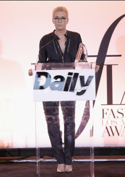 WEST HOLLYWOOD, CA - APRIL 02: Honoree Yolanda Hadid accepts the Mother of the Year award onstage during the Daily Front Row's 3rd Annual Fashion Los Angeles Awards at Sunset Tower Hotel on April 2, 2017 in West Hollywood, California. (Photo by Neilson Barnard/Getty Images)