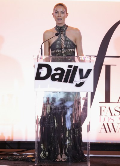 WEST HOLLYWOOD, CA - APRIL 02: Model Lily Aldridge speaks onstage during the Daily Front Row's 3rd Annual Fashion Los Angeles Awards at Sunset Tower Hotel on April 2, 2017 in West Hollywood, California. (Photo by Neilson Barnard/Getty Images)