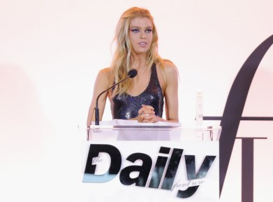 WEST HOLLYWOOD, CA - APRIL 02: Honoree Stella Maxwell accepts the Model of the Year award onstage during the Daily Front Row's 3rd Annual Fashion Los Angeles Awards at Sunset Tower Hotel on April 2, 2017 in West Hollywood, California. (Photo by Neilson Barnard/Getty Images)