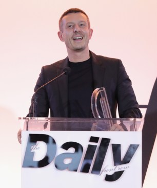 WEST HOLLYWOOD, CA - APRIL 02: Honoree Jonathan Saunders accepts the Designer of the Year award onstage during the Daily Front Row's 3rd Annual Fashion Los Angeles Awards at Sunset Tower Hotel on April 2, 2017 in West Hollywood, California. (Photo by Neilson Barnard/Getty Images)
