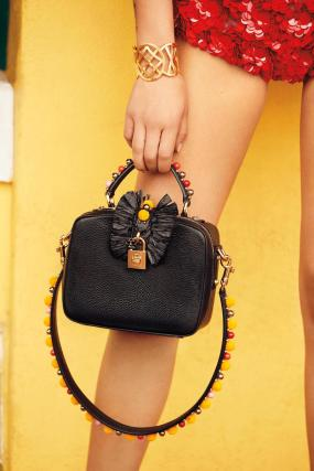 Dolce & Gabbana black bag with raffia accents