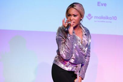 NEW YORK, NY - MAY 17: Rapper Eve performs onstage as Malaika hosts Malaika10 honoring Barry Segal & Tina Buchan at Espace on May 17, 2017 in New York City. (Photo by Cindy Ord/Getty Images for Malaikla10)