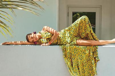 Tanya Taylor Oksana dress, Mercedes Salazar Esfera earrings, Baume et Mercier Petite Promesse watch with diamond-set mother-of-pearl dial and orange calfskin strap