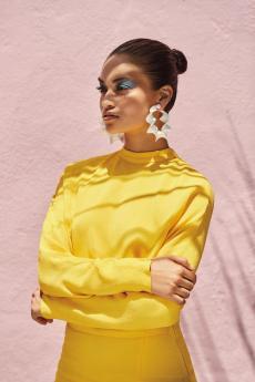 Salvatore Ferragamo silk dress, Altuzarra metal disc earrings