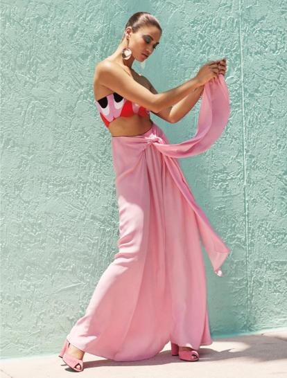 Emilio Pucci Onde Intarsio top, Tome pink skirt, Faris Pendo drop earring, Stella Luna Carioca slingbacks