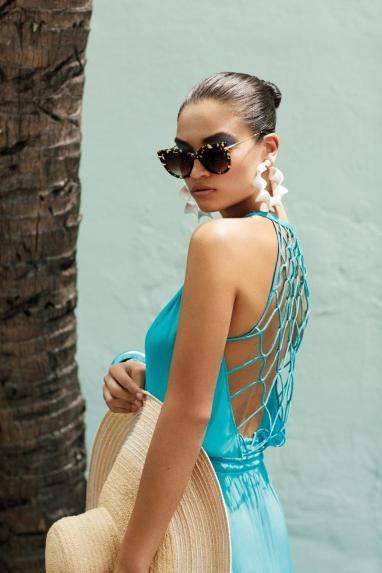 Ramy Brook Maya dress, Krewe Octavia sunglasses, Alexis Bittar medium abalone bangle, Altuzarra metal disc earrings, Lola Hats Nomad hat