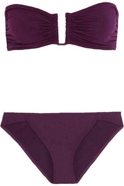 Eres Show bandeau top Cavale bikini bottom in deep purples