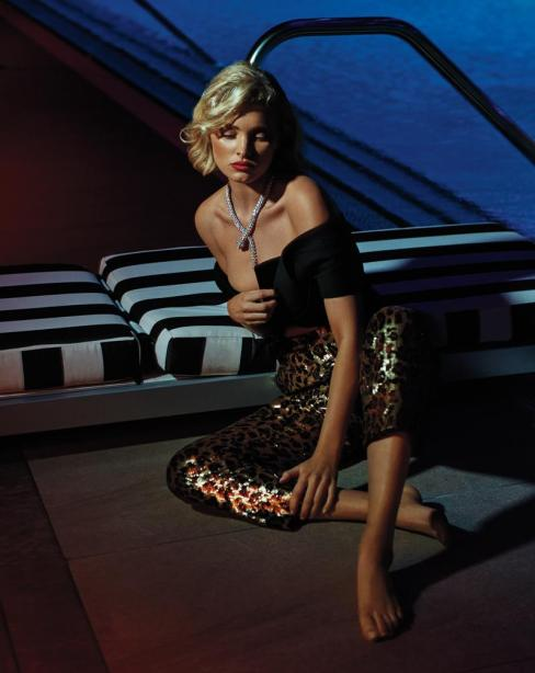 BRANDON MAXWELL folded bow top; DOLCE & GABBANA leopard sequin pants; BULGARI Serpenti high-jewelry necklace in 18-karat white gold