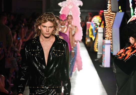 HOLLYWOOD, CA - JUNE 08: Model Jordan Barrett walk the runway at Moschino Spring/Summer 18 Menswear and Women's Resort Collection at Milk Studios on June 8, 2017 in Hollywood, California. (Photo by Frazer Harrison/Getty Images for Moschino)