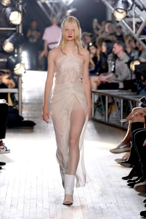 NEW YORK, NY - SEPTEMBER 11: A model walks the runway for TRESemme Helmut Lang Seen By Shayne Oliver fashion show during New York Fashion Week on September 11, 2017 in New York City. (Photo by JP Yim/Getty Images For TRESemme Helmut Lang)