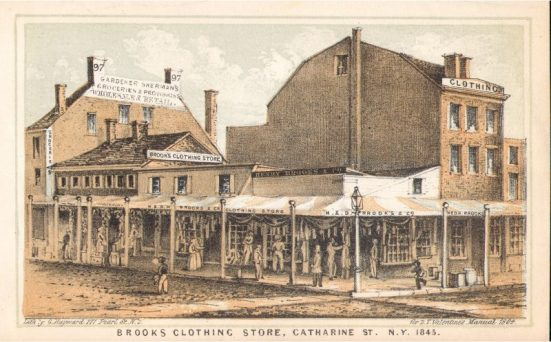 2. Illustration of Brooks Brothers Store on Catharine and Cherry Street NYC (1845)