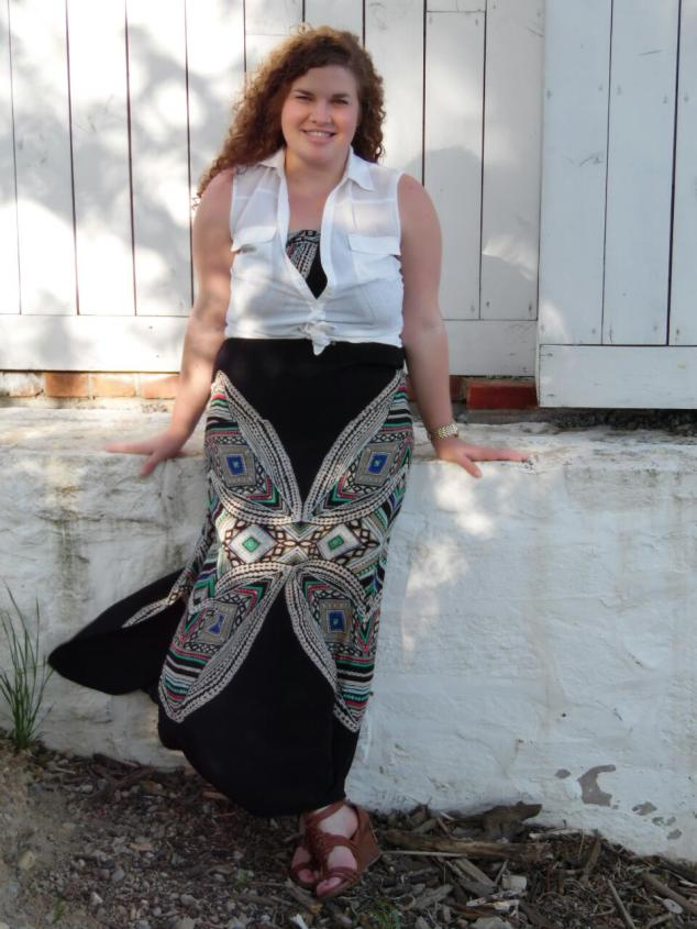 Maxi dress, Target, under $35; White button up, NY & Co. under $30; Shoes, TJ Maxx, under $40
