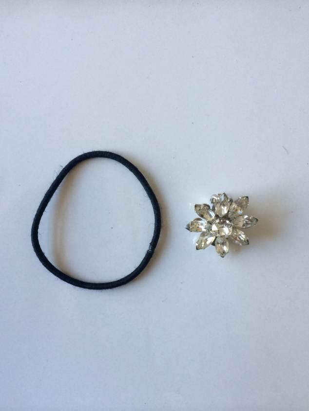 Before: Hair tie and Grandma's floral clip on earrings