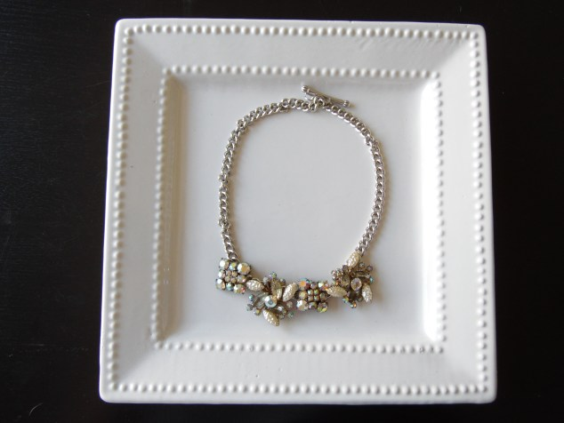 After: Grandma's clip on earrings linked to new chain for amazing statement necklace!