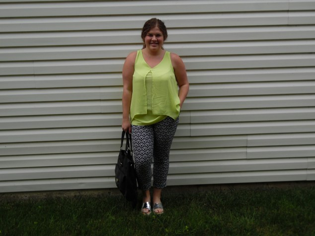 Top, Ave & Viv l Pants, NY & Co. $35 l Shoes, Target, $30 l Bag, Target, under $20