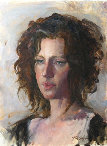 "Portrait of Evonne by Robert Paulmenn Oil ~ 16"""" x 12"""